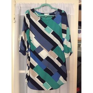Teal and blue color block dress